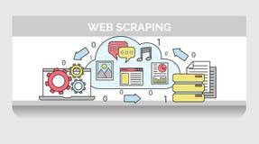 Ejemplo del garabato para el web que desecha secuencia de proceso Stock de ilustración