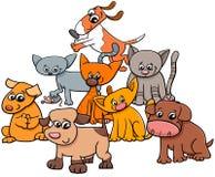 Ejemplo del gatito y de la historieta del grupo de los perritos libre illustration