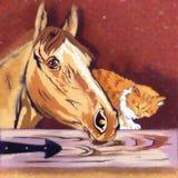 Ejemplo del gatito y del caballo Fotos de archivo