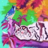 Ejemplo del gatito y del pájaro Foto de archivo
