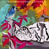 Ejemplo del gatito y del pájaro Foto de archivo libre de regalías