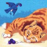 Ejemplo del gato y del pájaro Imagen de archivo libre de regalías