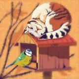 Ejemplo del gato y del pájaro Fotos de archivo