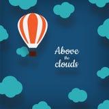 Ejemplo del globo del aire caliente con un lugar para su texto en carto Foto de archivo libre de regalías