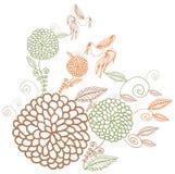 Flores coloreadas del vintage en el fondo blanco Fotografía de archivo libre de regalías