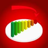 Ejemplo del gráfico y de la carta de negocio con ir abajo de flecha en etapa Imagenes de archivo