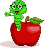 Gusano verde en manzana Fotografía de archivo