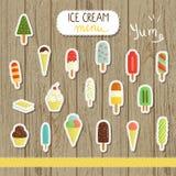 Ejemplo del helado del vector en estilo de la historieta ilustración del vector