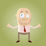 Hombre de negocios de la historieta con la barba Imagen de archivo