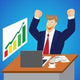 Ejemplo del hombre de negocios que anima para el mercado de acción en su escritorio Foto de archivo