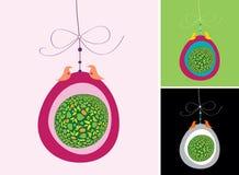 Ejemplo del huevo colorido de la ejecución con los pájaros que se sientan Imágenes de archivo libres de regalías