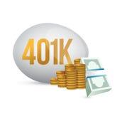 ejemplo del huevo 401k y del dinero del efectivo Foto de archivo