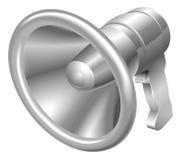 Ejemplo del icono de acero del megáfono del megáfono del metal brillante Foto de archivo libre de regalías