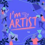 Ejemplo del icono de la carrera del artista con 'soy diseño del texto del artista ' tipográfico - ejemplo del vector libre illustration