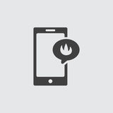 Ejemplo del icono de la llama de Smartphone Imagen de archivo libre de regalías