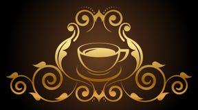 Ejemplo del icono floral del café del oro stock de ilustración