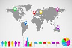 Ejemplo del infographics del mapa del mundo Fotos de archivo libres de regalías