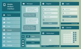 Ejemplo del interfaz plano del móvil del diseño Fotografía de archivo
