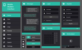 Ejemplo del interfaz plano del móvil del diseño Fotografía de archivo libre de regalías