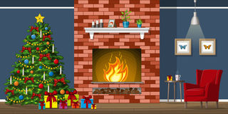 Ejemplo del interior de una sala de estar con el árbol de navidad stock de ilustración