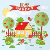 Ejemplo del jardín del vector en estilo plano Imagenes de archivo