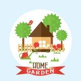 Ejemplo del jardín del vector en estilo plano Jardín alrededor del hous Fotografía de archivo libre de regalías
