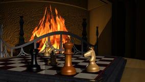Ejemplo del juego de ajedrez delante de una chimenea Imágenes de archivo libres de regalías