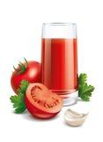 Ejemplo del jugo de tomate Fotos de archivo libres de regalías