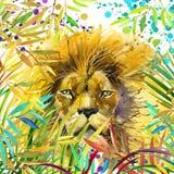 Ejemplo del león Bosque exótico tropical, hojas verdes, fauna, león, ejemplo de la acuarela stock de ilustración