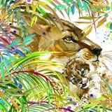 Ejemplo del león Bosque exótico tropical, hojas verdes, fauna, león, ejemplo de la acuarela ilustración del vector