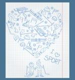 Ejemplo del libro de ejercicio en una jaula con los campos y los dibujos de la pluma en el tema de los deportes de invierno ilustración del vector