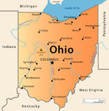 Mapa de Ohio Foto de archivo libre de regalías