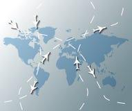 Ejemplo del mapa del mundo con los aviones ilustración del vector