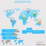 Ejemplo del mapa del mundo con los pernos coloreados y el transporte y texto simple para el viaje Stock de ilustración