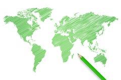 Ejemplo del mapa del mundo del lápiz de Colred Fotografía de archivo libre de regalías