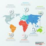 Ejemplo del mapa del mundo del vector y plantilla del diseño del infographics Imagenes de archivo