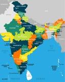 Ejemplo del mapa detallado del vector de la India, Asia con todos los estados y límite del país libre illustration