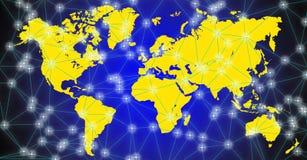 Ejemplo del mapa del mundo en fondo negro-azul imagenes de archivo