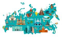 Ejemplo del mapa del vector de Rusia Atlas del drenaje de la mano ilustración del vector