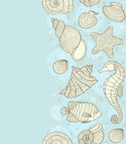 Modelo inconsútil con las cáscaras del océano Fotografía de archivo libre de regalías
