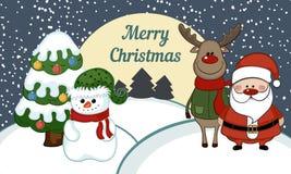 Ejemplo del muñeco de nieve con Papá Noel Imagenes de archivo