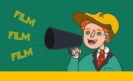 Ejemplo del muchacho en ropa retra que grita en megáfono: Película del `, película, ` de la película stock de ilustración