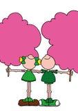 Ejemplo del muchacho y de la muchacha cada tenencia un caramelo de algodón rosado gigante Imágenes de archivo libres de regalías