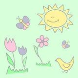 Ejemplo del niño con las mariposas, las flores, y el sol Imagen de archivo
