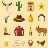 Ejemplo del oeste salvaje del vector de los iconos del vaquero Foto de archivo