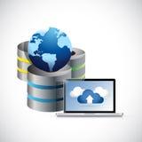 Ejemplo del ordenador portátil y del globo de la red del servidor Fotografía de archivo libre de regalías