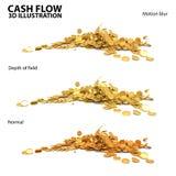 Ejemplo 3 del oro de monedas del flujo de liquidez 3d en uno Fotos de archivo