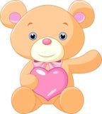Ejemplo del oso de peluche lindo que lleva a cabo el corazón Fotografía de archivo libre de regalías