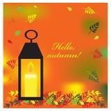 Ejemplo del otoño con las hojas y la vela coloridas Ilustración del vector Imagen de archivo