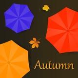 Ejemplo del otoño con los paraguas y las hojas stock de ilustración